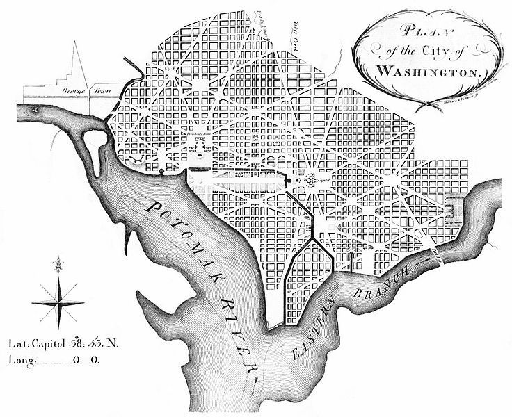 (Plan de Washington, par Andrew Ellicott, mars 1792, image de Library of Congress,www.lccn.loc.gov)