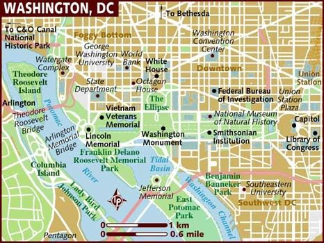 (Plan de Washington, www.lonelyplanet.com)