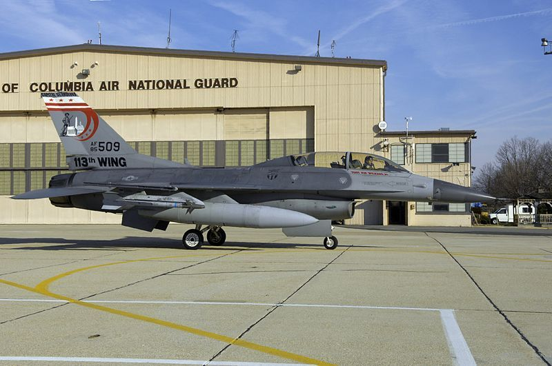 (F-16 D de la DC Air National Guard, photo de SrA Renae Kleckner, USAF, 16/01/2008, www.andrews.af.mil)