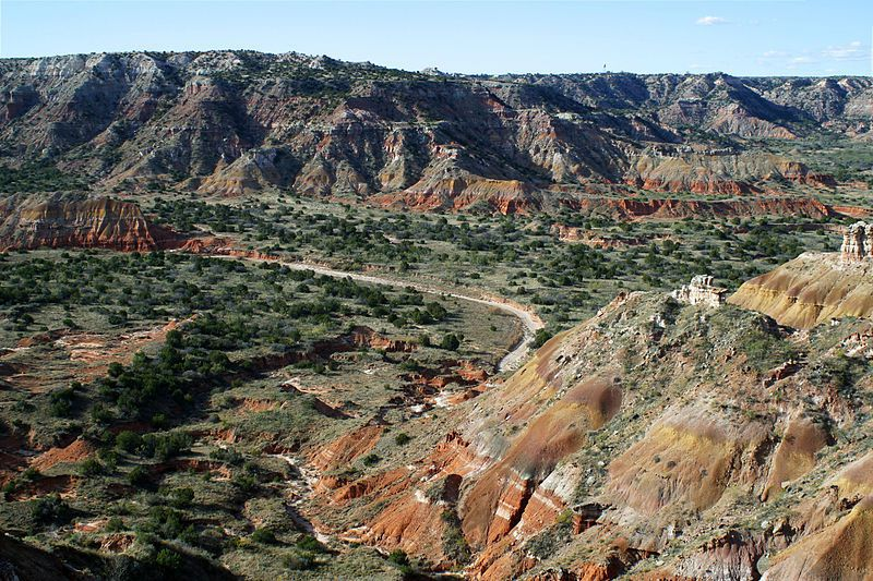 (Palo Duro Canyon, Texas, photo de Leaflet, 20/11/2002, wikipédia)