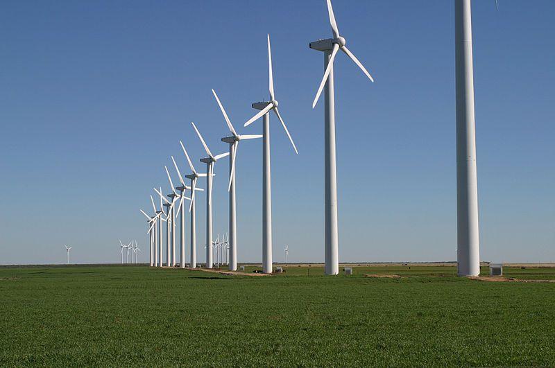 (Éoliennes près de Fluvanna, Texas, photo de Leaflet, 25/11/2004, wikipédia)