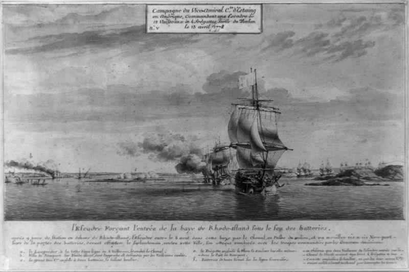 (Arrivée de la flotte française dans la baie de Newport, 1778, gravure de Pierre Ozanne, www.loc.org, wikipedia)
