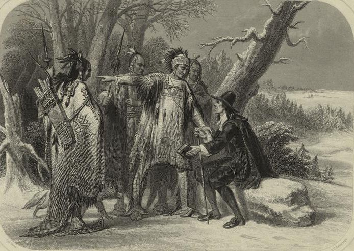 (Rencontre de Roger Williams avec les Narragansets, James Charles Armytage, 1856, www.nypl.org, wikipedia)