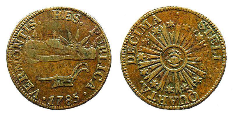 (Pièces de monnaie du Vermont, photo de Reuben Harmon, 1785-1786, www.usmint.gov, wikipedia)