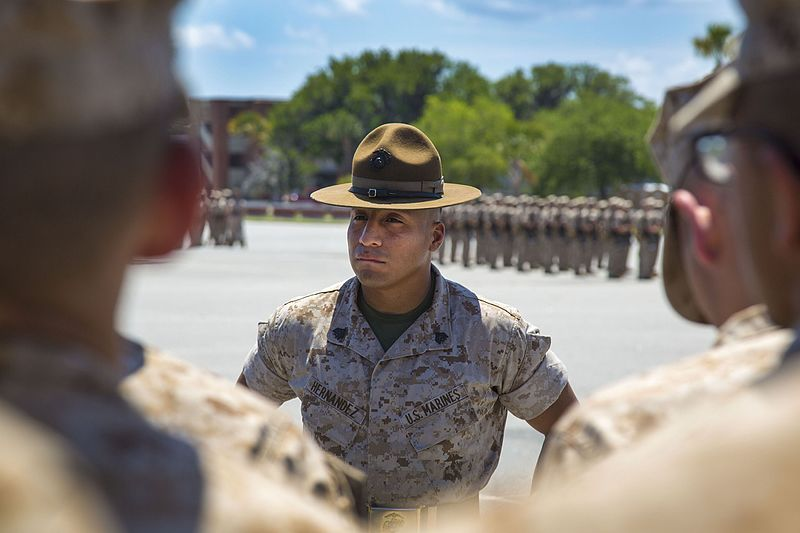 (Instructeur de l'USMC à Parris Island, SC, photo de Cpl Aneshea Yee, USMC, 13/05/2014, www.dvidshub.net, wikipedia)