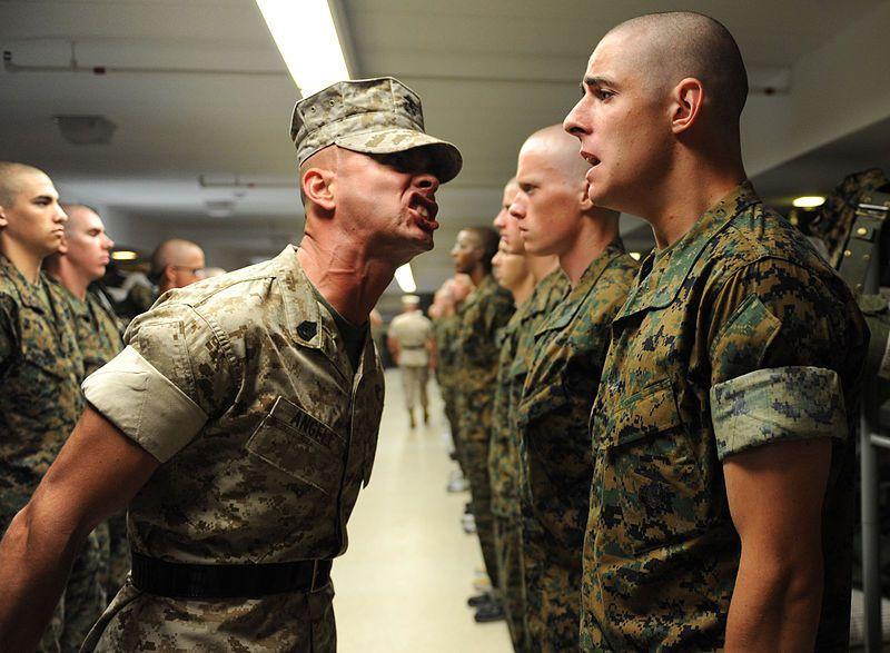 (Un instructeur corrigeant un candidat, photo de John Kennicutt, USMC, 08/07/2009, www.marines.mil, wikipedia)
