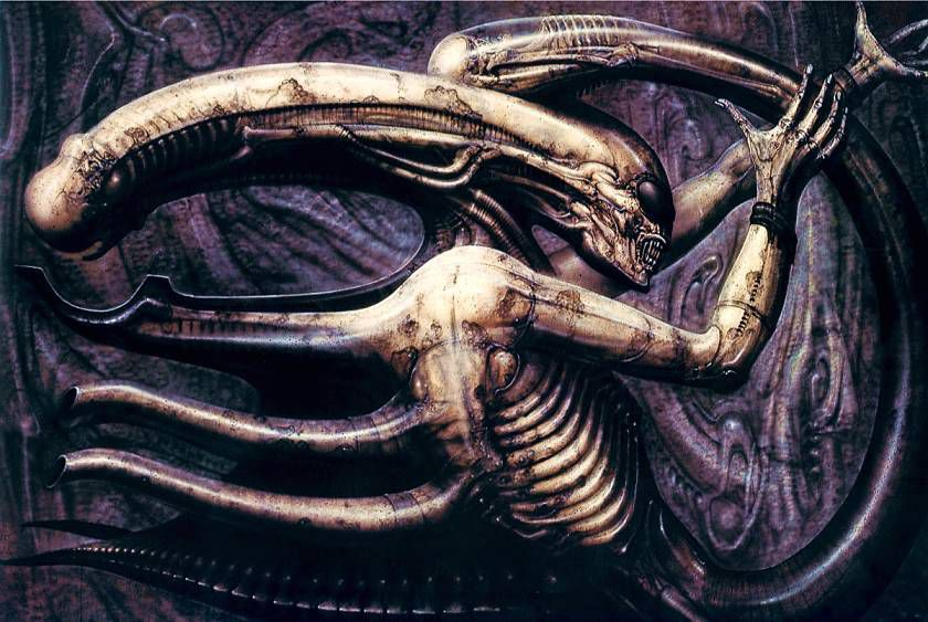 Necronom IV, la toile de Giger créé en 1976 qui est à l'origine du design du monstre