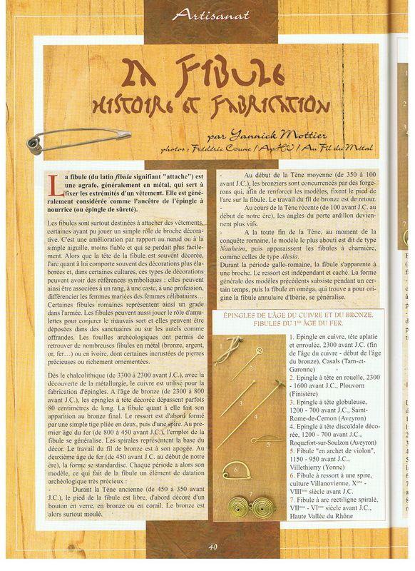 """article sur la fibule, revue """"vivre l'histoire"""""""