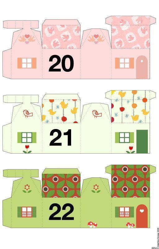 Calendrier de l'Avent avec de belles maisons colorées , à imprimer et à découper !