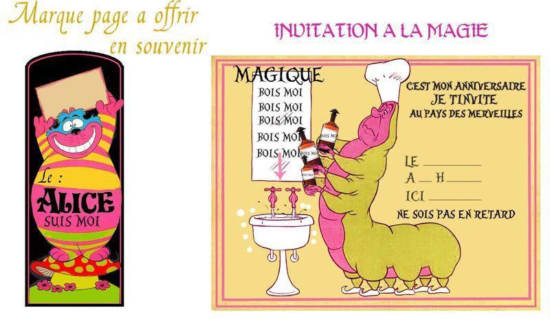 Cartes d'invitation pour fêter son ANNIVERSAIRE , sur le thème d'Alice aux pays des merveilles , à imprimer !