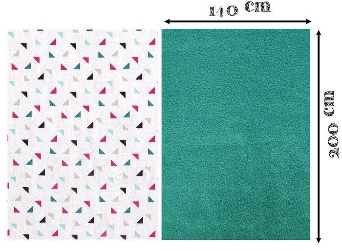 Couper les tissus aux dimensions indiquées : 140 cm par 200 cm