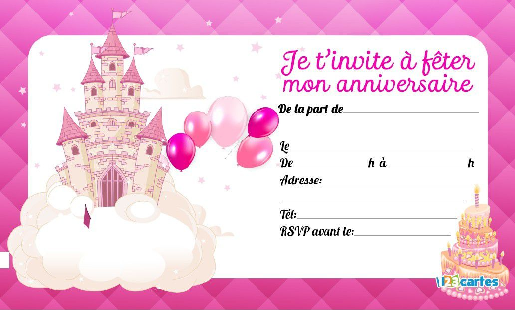 invitation anniversaire princesse imprimer gratuitement 1000 id es faire chez soi. Black Bedroom Furniture Sets. Home Design Ideas