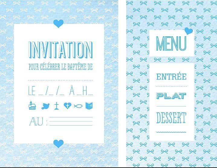 Carte D Invitation Bapteme Sachets Dragees Carte Menue A