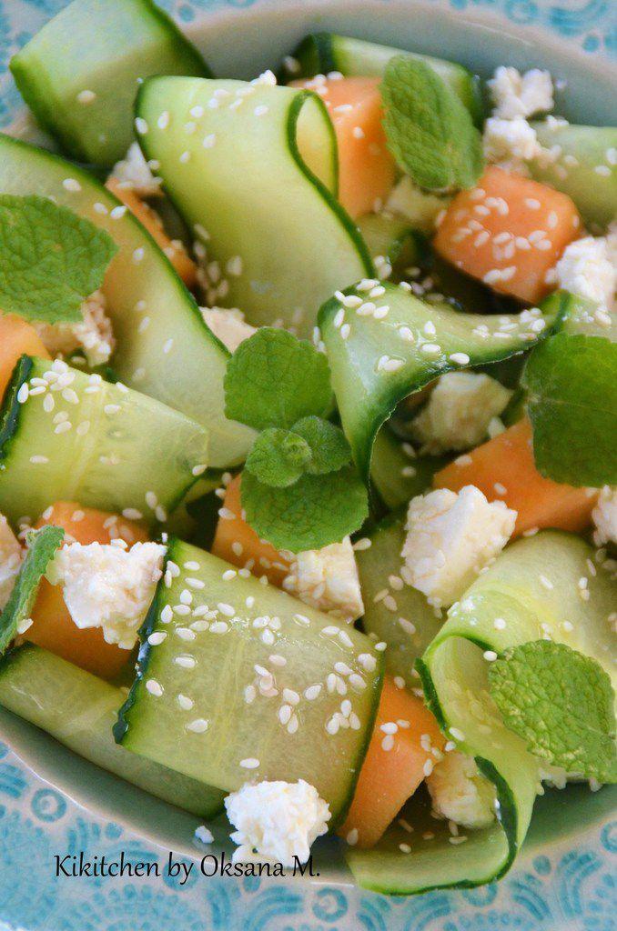 Cucumber &quot&#x3B;Tagliatelle&quot&#x3B; with Melon &amp&#x3B; Feta