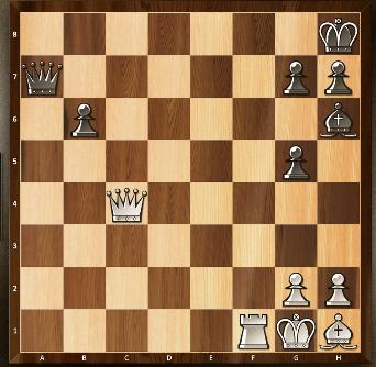 5) Les blancs ont l'avantage matériel et menacent de donner le mat en amenant leur dame ou leur tour sur la dernière rangée. Mais c'est aux noirs de jouer. Par quel terrible coup reprennent-ils l'avantage?