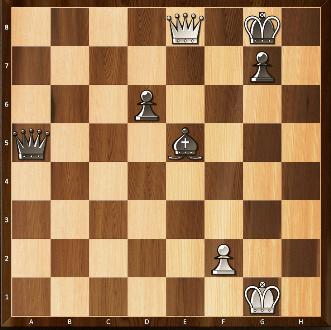 Mis en échec, les noirs n'ont que le coup Rh7. En infériorité matérielle, les blancs poursuivent par Dh5+, contraignant les noirs à Rg8. Les blancs décident de rejouer systématiquement les mêmes coups.