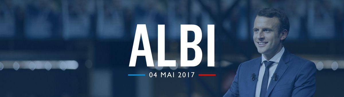 Emmanuel Macron en meeting en plein air à Albi le 4 mai 2017