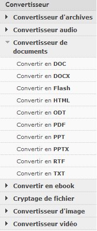Formats de documents convertibles en ligne par http://document.online-convert.com.fr - logiciel gratuit