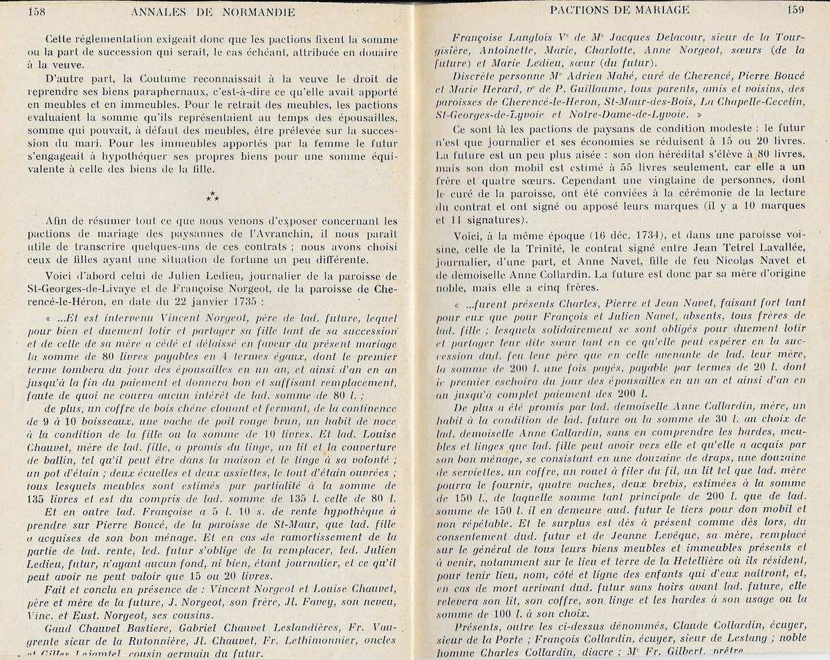 Annales de Normandie, les pactions de mariages des paysannes de l'Avranchin aux 17e et 18e siecles