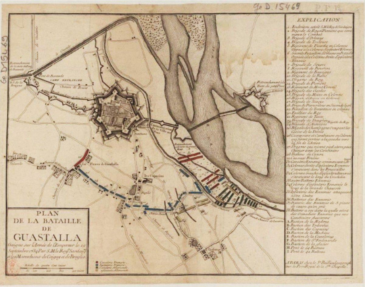 Plan de la Bataille de Guastalla Gaignée sur l'Armée de l'Empereur le 19 Septembre 1734 / Par S.M. le Roy de Sardaigne et les Mareschaux de Coigny et de Broglie