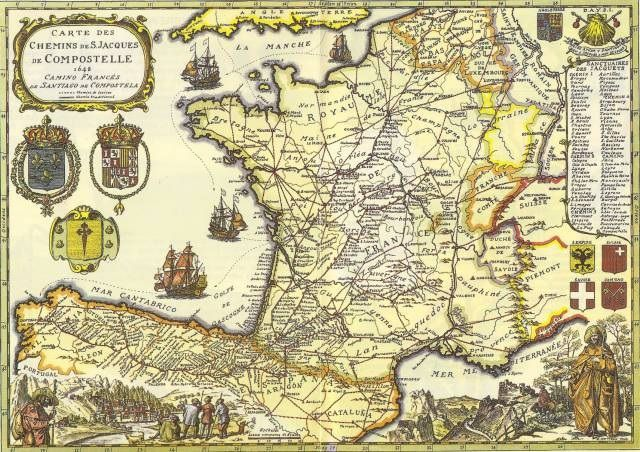 """Old map from 1648 """"Compostella forever popular"""""""