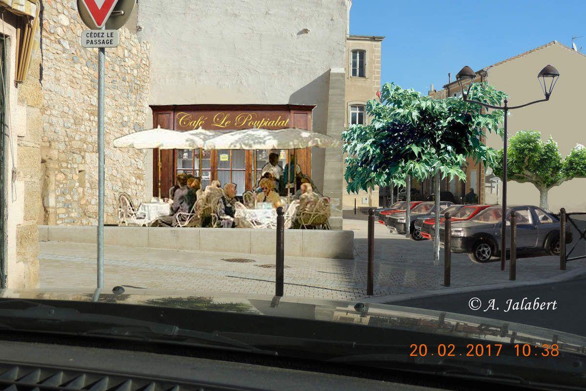 En descendant la rue Alphonse Daudet: la place sous le rempart.