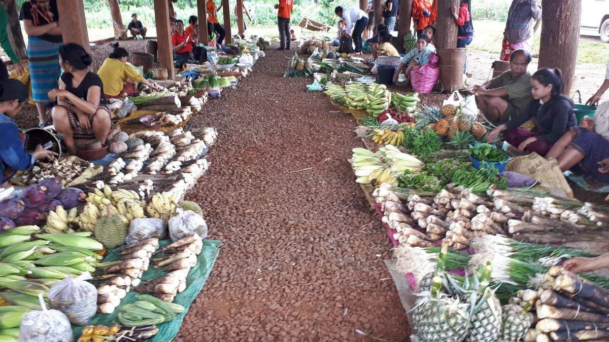 le marché à la sortie du village