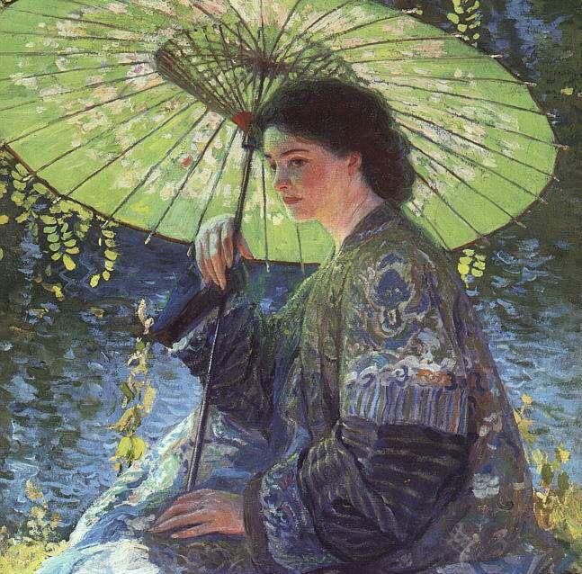 Guy Orlando Rose, En kimono bleu au bord du lac, date incertaine.