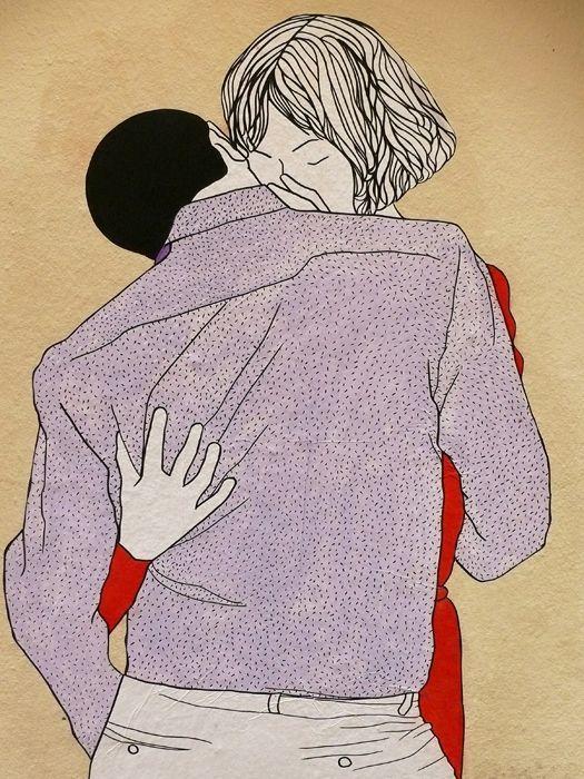 Les &quot&#x3B;Kissing Lovers&quot&#x3B; de Claire StreetArt