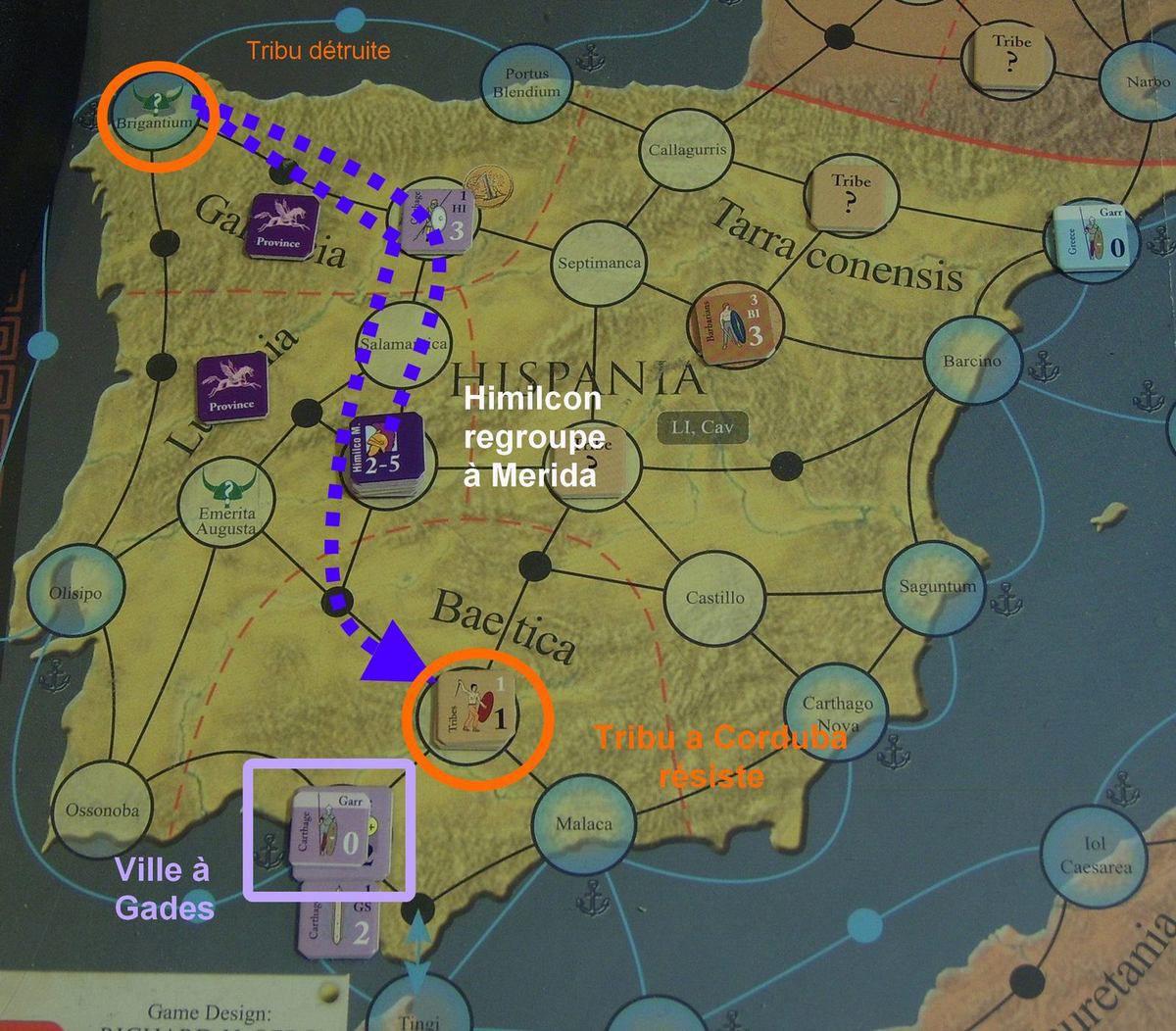 L'activation commence avec une révolte à Jérusalem. En Hispania, Himilcon continue de soumettre les tribus locales. Celle de Brigantum est détruite en une fois en sacrifiant 10% des troupes&#x3B; celle de Corduba résiste à la première et dernière attaque du Major Move. A Syracuse on répare, et à Gades on construit une ville.