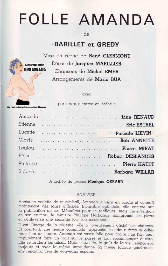 Programme Folle Amanda Théatre Des Nouveautés 1981
