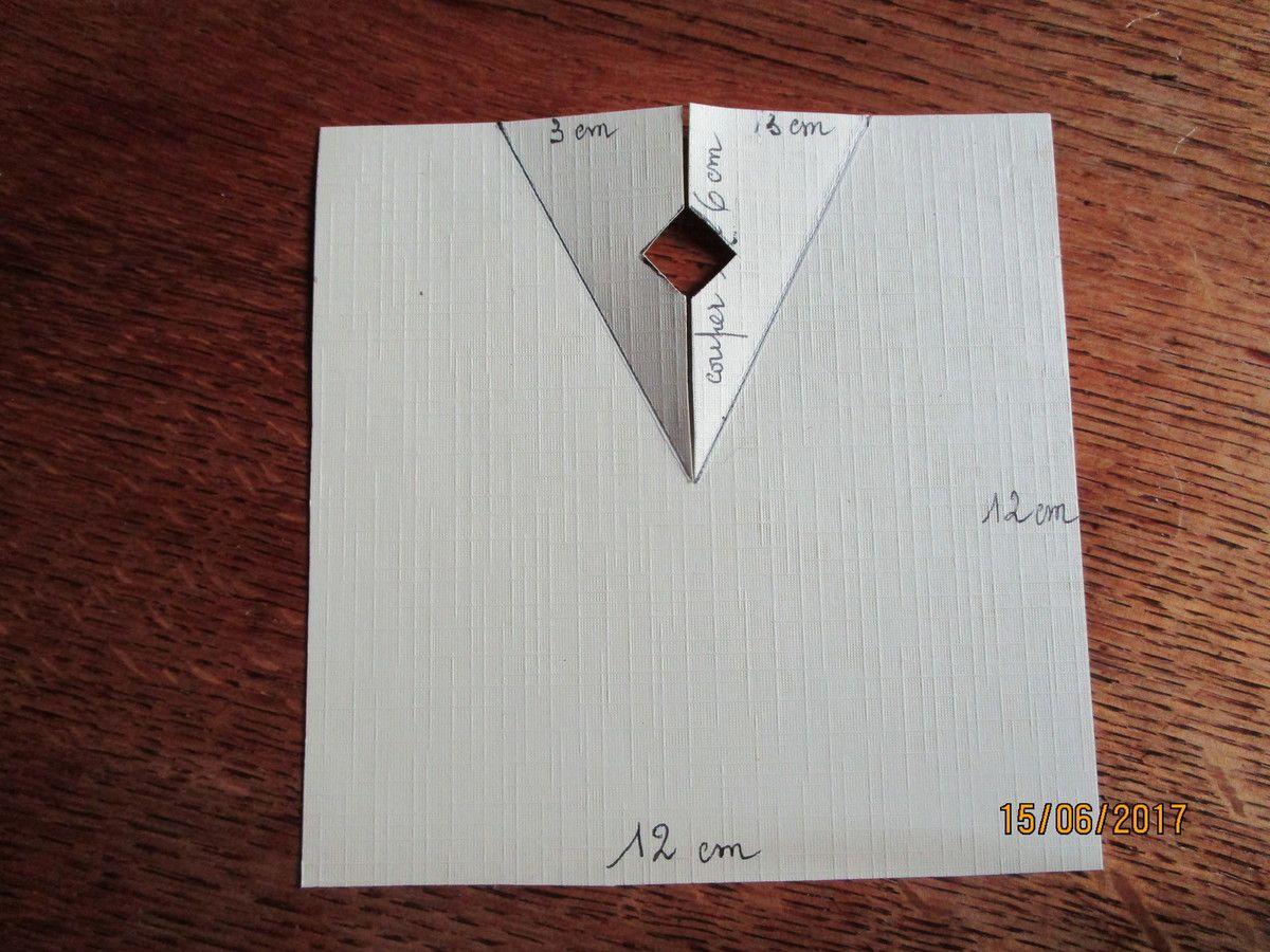 puis,après avoir coupé selon la médiane sur 6cm,on replie les revers