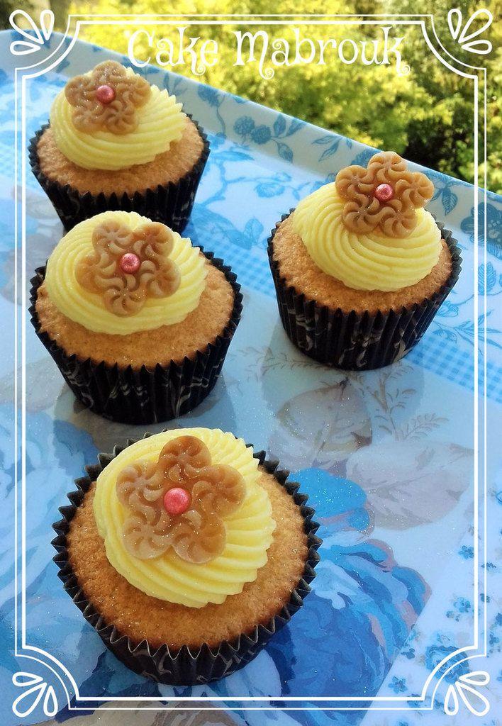 Cupcakes crème pâtissière en topping et pâte d'amande au café