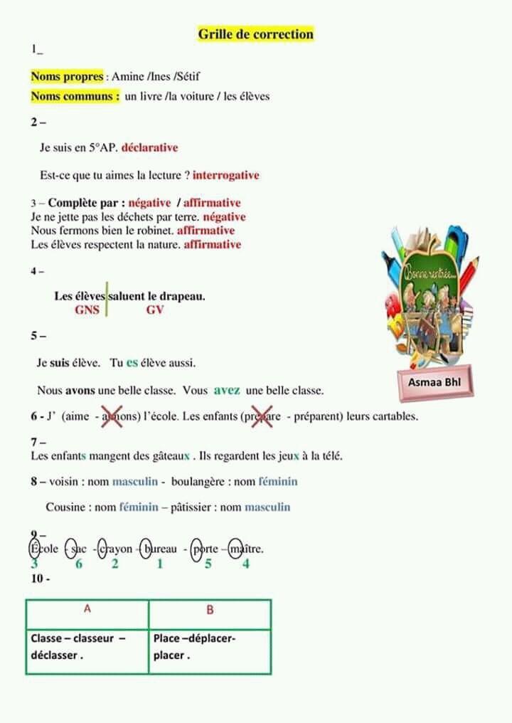 Evaluation Diagnostique 5 Annee Tanefdour Com