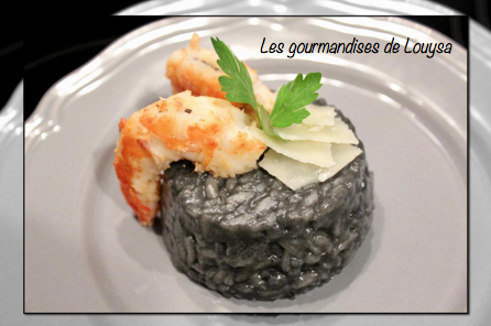 risotto encre de seiche et gambas les gourmandises de louysa. Black Bedroom Furniture Sets. Home Design Ideas