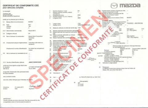 certificat de conformite mazda immatriculation d 39 une voiture import e en france. Black Bedroom Furniture Sets. Home Design Ideas