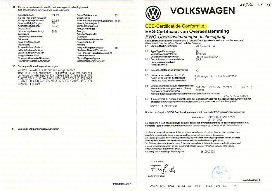 certificat de conformite volkswagen gratuit immatriculation d 39 une voiture import e en france. Black Bedroom Furniture Sets. Home Design Ideas