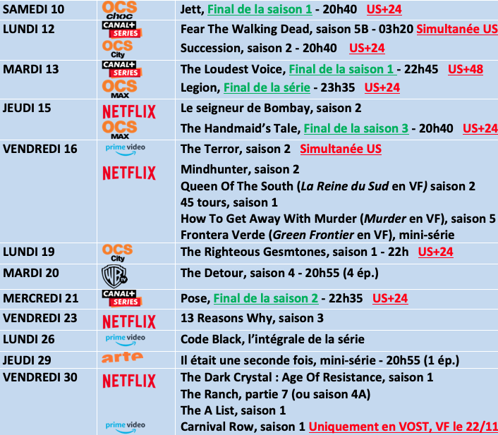 Fear The Walking Dead Calendrier.Le Calendrier Series D Aout 2019 Univers Tv Usa