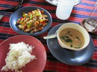 Curry vert de poulet et poulet sauté aux noix de cajou
