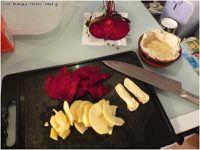 Tartelette betterave, pomme, reblochon