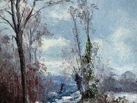 Chemin creux (100x81), Fin d'automne sur le chemin de Beauregard (53x46) et Neige fondant sur le chemin de Beauregard (35x27)