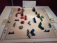 """Les prototypes et futurs kickstarter ! la première image est le jeu en cours de kikstarter """"Scythe"""" ( 1,3 M$ 5 jours avant clôture), deux jeux type wargames présentés sous tentes romaines ! Un jeu canadien d'infiltration WW2"""