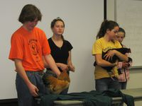 Linn County 4-H members brought several chickens to share with the class and facilitated a question and answer session with Homegrown Lifestyle course participants.