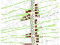 ZAC Rouget de l'Isle, Vitry-sur-Seine. Perspective / plan masse conceptuel / Orientation du parcellaire