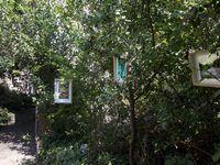 De gauche à droite : David Alexandre (derrière lui, Charlotte OBEURRE assise près de ses photos) &#x3B; les photos sur verre d'Alexandre &#x3B; John OF THE TOWER &#x3B; une photographie de John. Exposition dans le jardin en friche d'Arlette