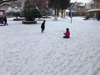 Amiens et la Sainte Famille sous la neige / Candace et Chandler, les seuls américains présents au collège ce matin! (Merci pour le photos, Candace!)