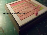Une boîte dans laquelle j'ai choisi de mettre des bijoux. Pour le dessus, j'ai fait une petite composition de papiers décopatchs, tissus, et scapbooking