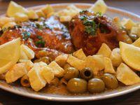 Poulet aux olives et frites