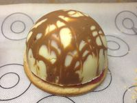 Dôme diplomate vanille/framboises en coque de chocolat