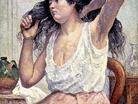 M. LUCE - La Blanchisseuse, Madame Boin à sa Toilette (1901), Travailleur (étude) - HST- Musée de l'Hôtel Dieu de Mantes-La-Jolie